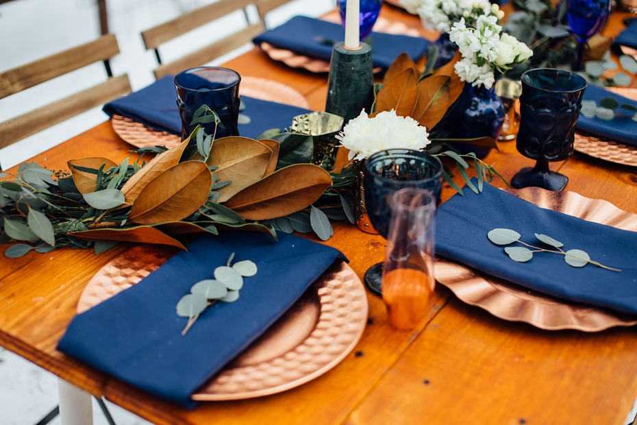 Blue green and gold table decor