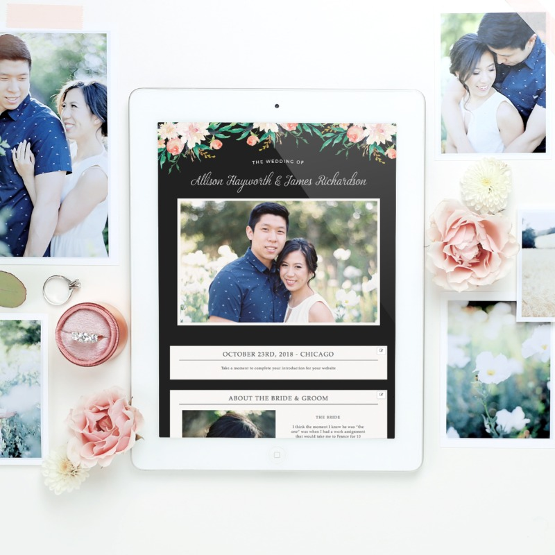 Our blossoming love wedding website template is also available as a wedding invitation suite. How cute is that?!