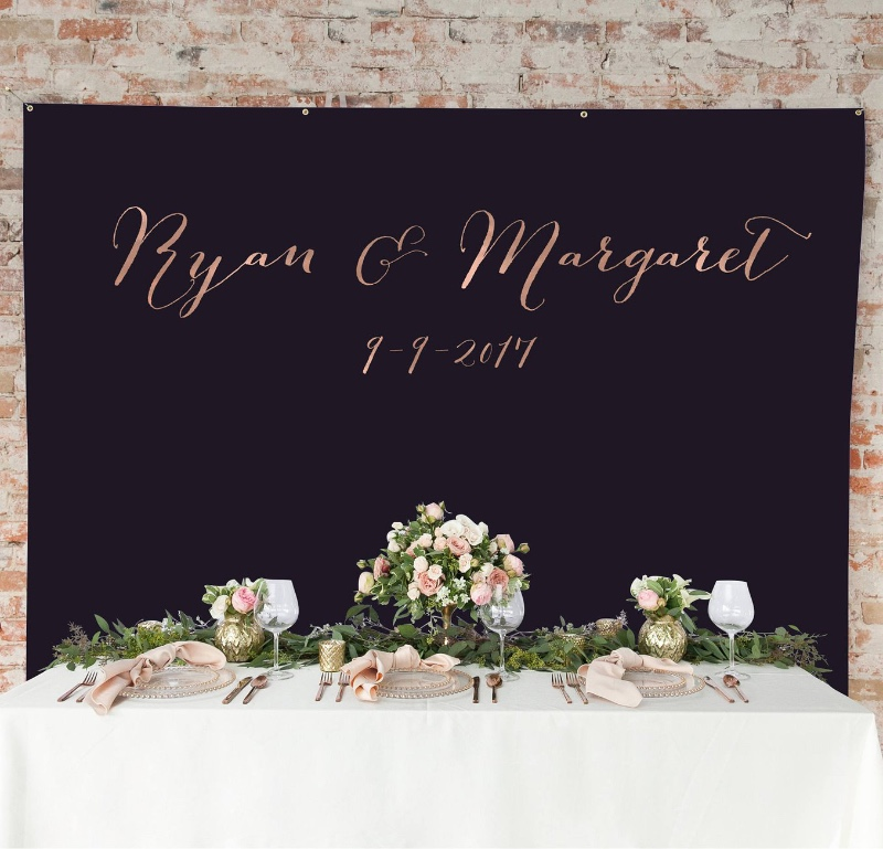 Our Wedding Backdrop goes beyond the traditional wedding backdrop! This custom backdrop features the couple's names and wedding date