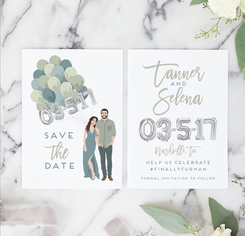 These fun save the date cards feature a custom couple portrait holding mylar balloons, and are the PERFECT way to let guests know to
