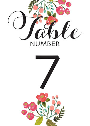 Free Handpainted Table Numbers