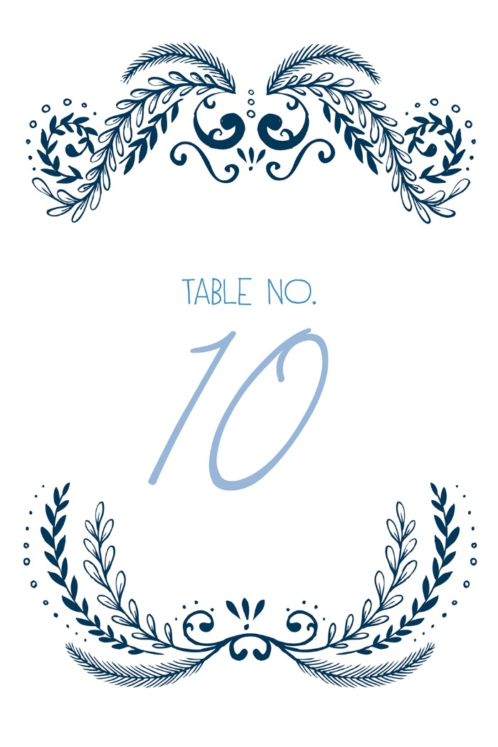 Print: Ornate Free Printable Table Numbers