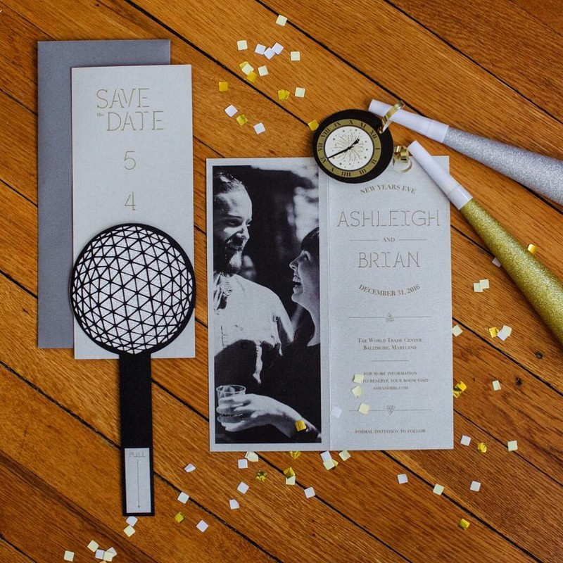 Custom NYE wedding invitation suite! This is the whole save-the-date along with our custom clock escort cards . Each clock had a different