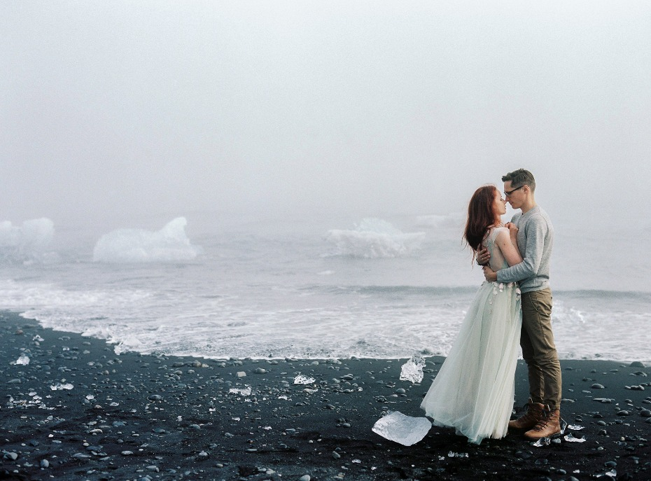 getting cozy at a foggy Blue Lagoon in Iceland