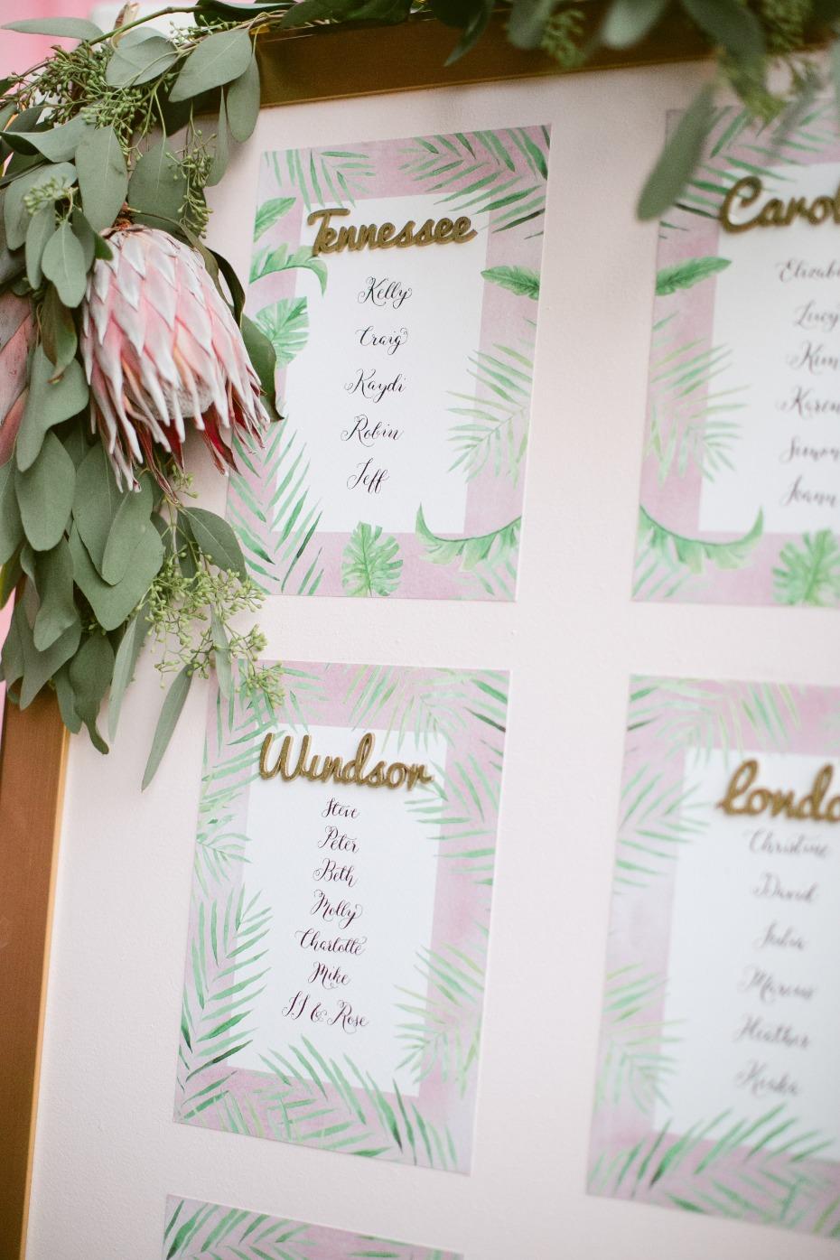 Tropical blush seating chart