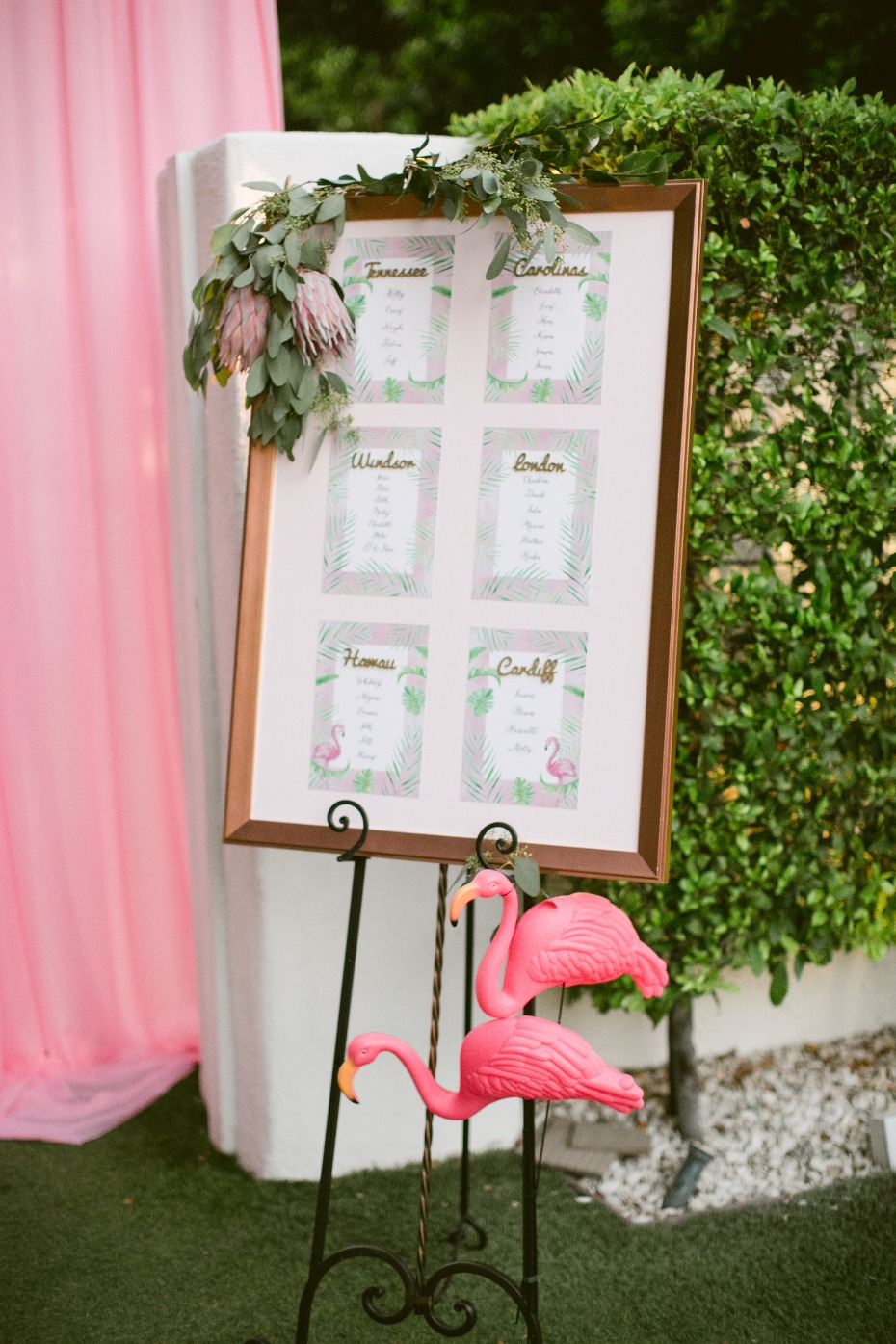Tropical blush seating chart with flamingos