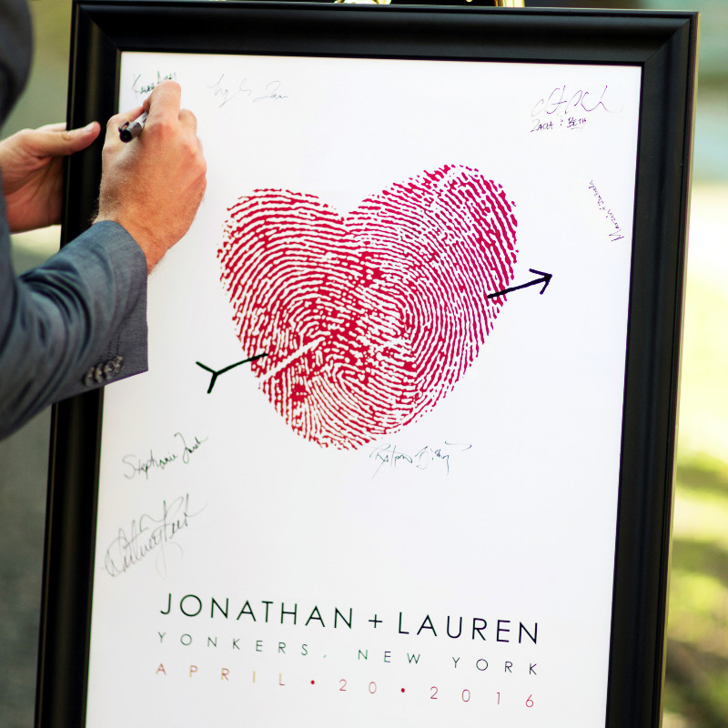 Guest book alternative made with couple's own fingerprints.