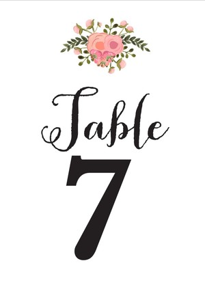 Romantic Blush Free Table Numbers