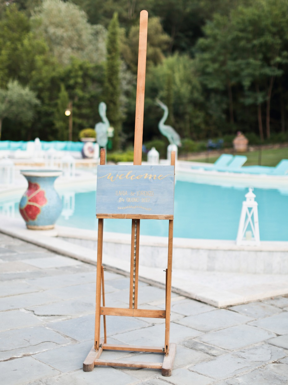 welcome wedding sign on a HUGE easel