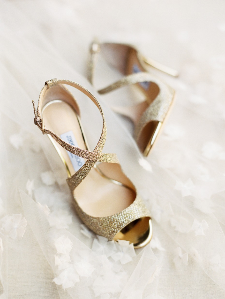 Sparkly gold Jimmy Choo's