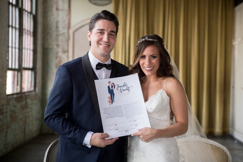 This couple portrait Ketubah goes beyond the traditional Ketubah! It's a custom work of art, created for you, by one of our MDB certified