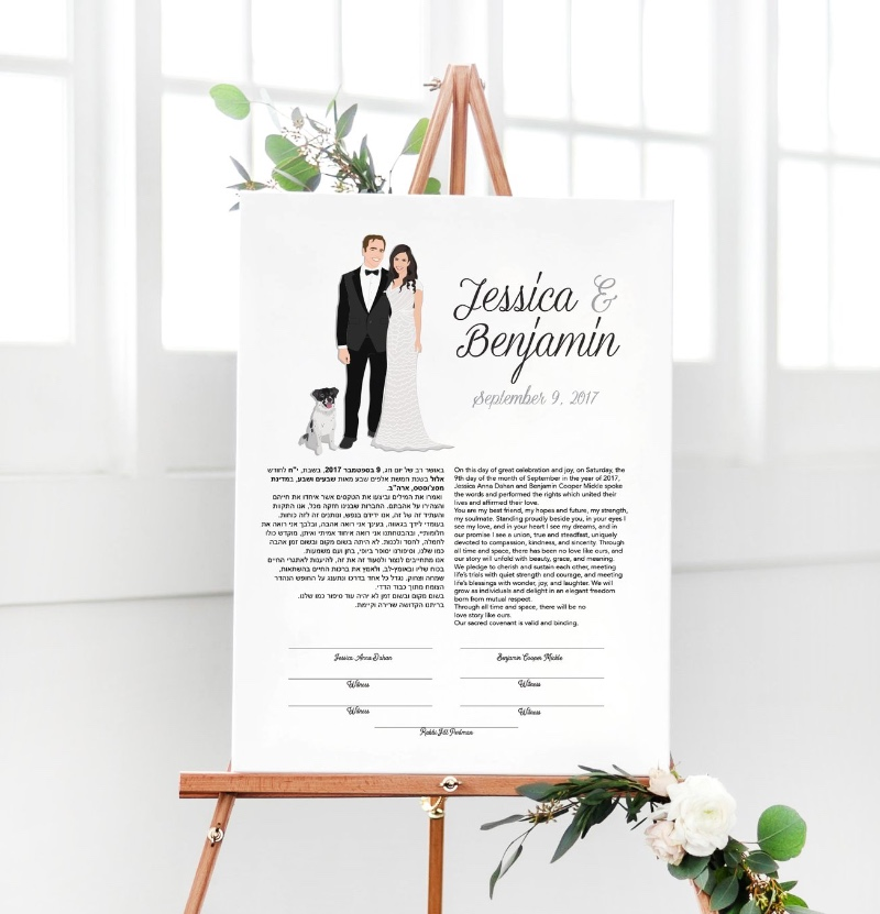 Miss Design Berry's Ketubah wedding pieces are unique, made to look just like YOU for the big day.