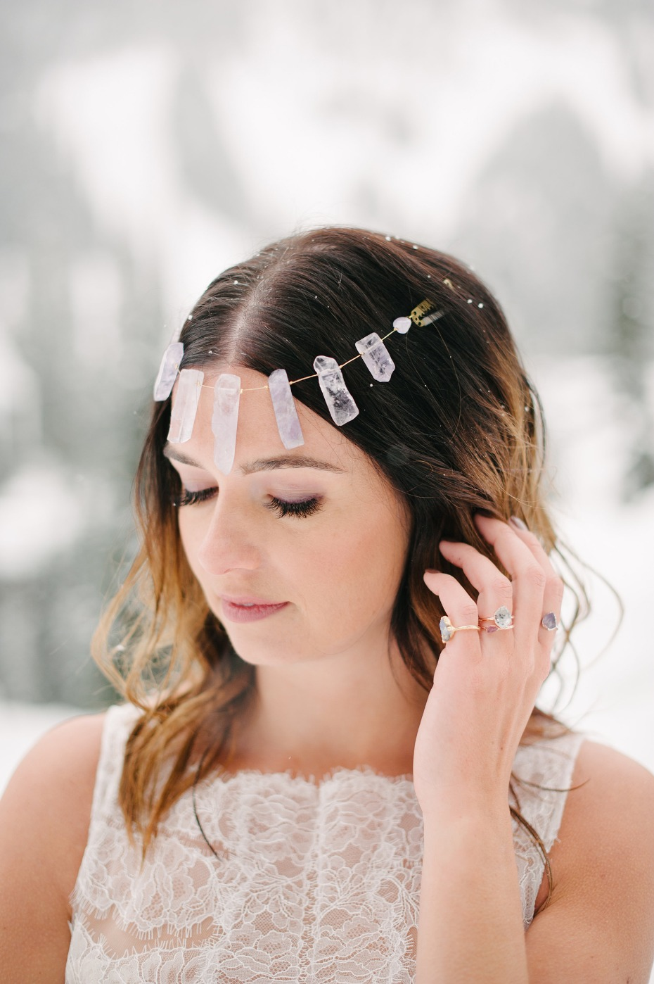 alternative boho bridal style for your winter wedding
