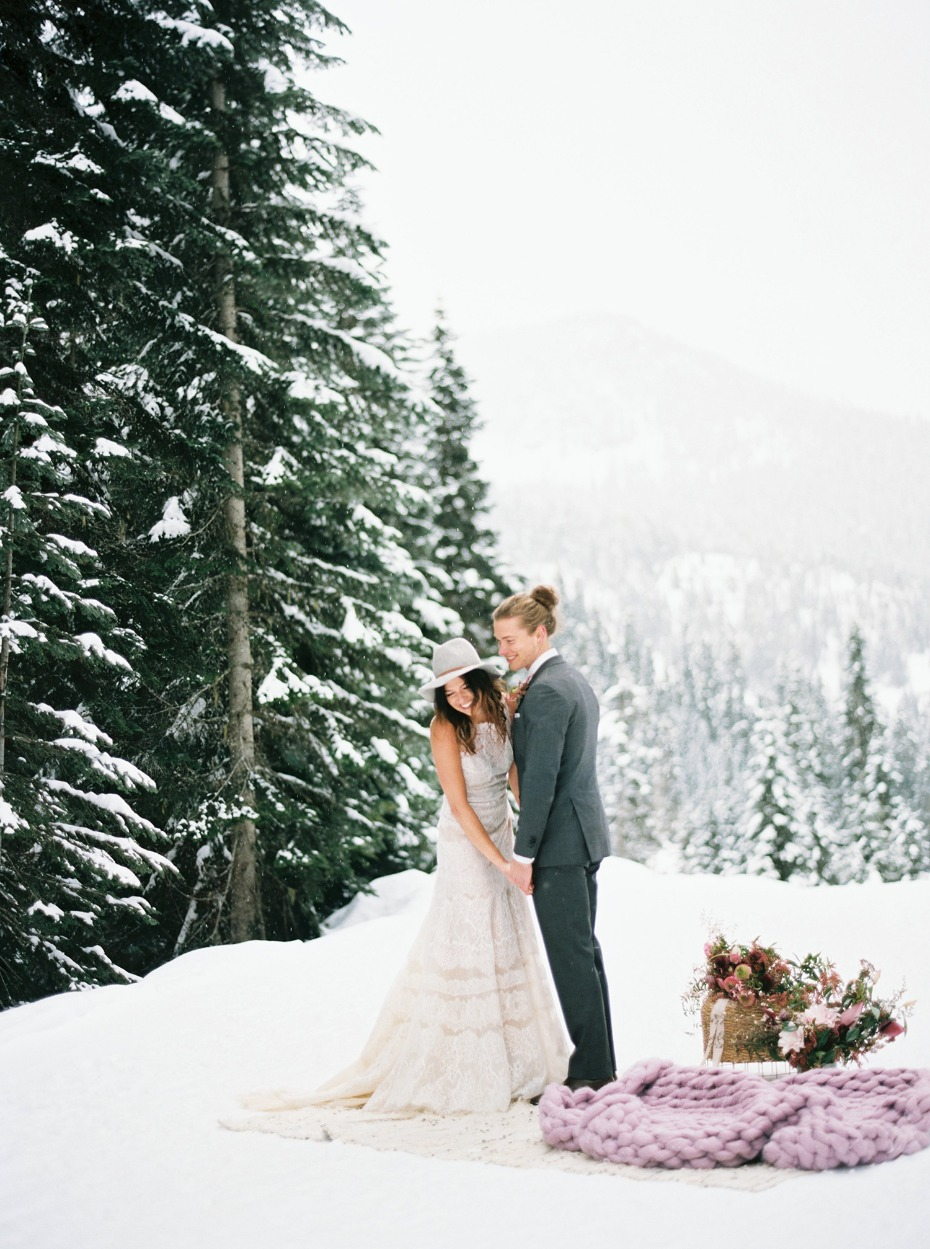 happy bride and groom winter wedding idea