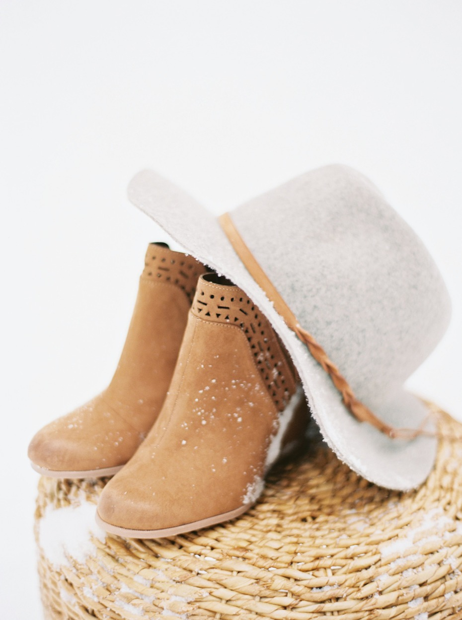 wedding boots and wedding hat