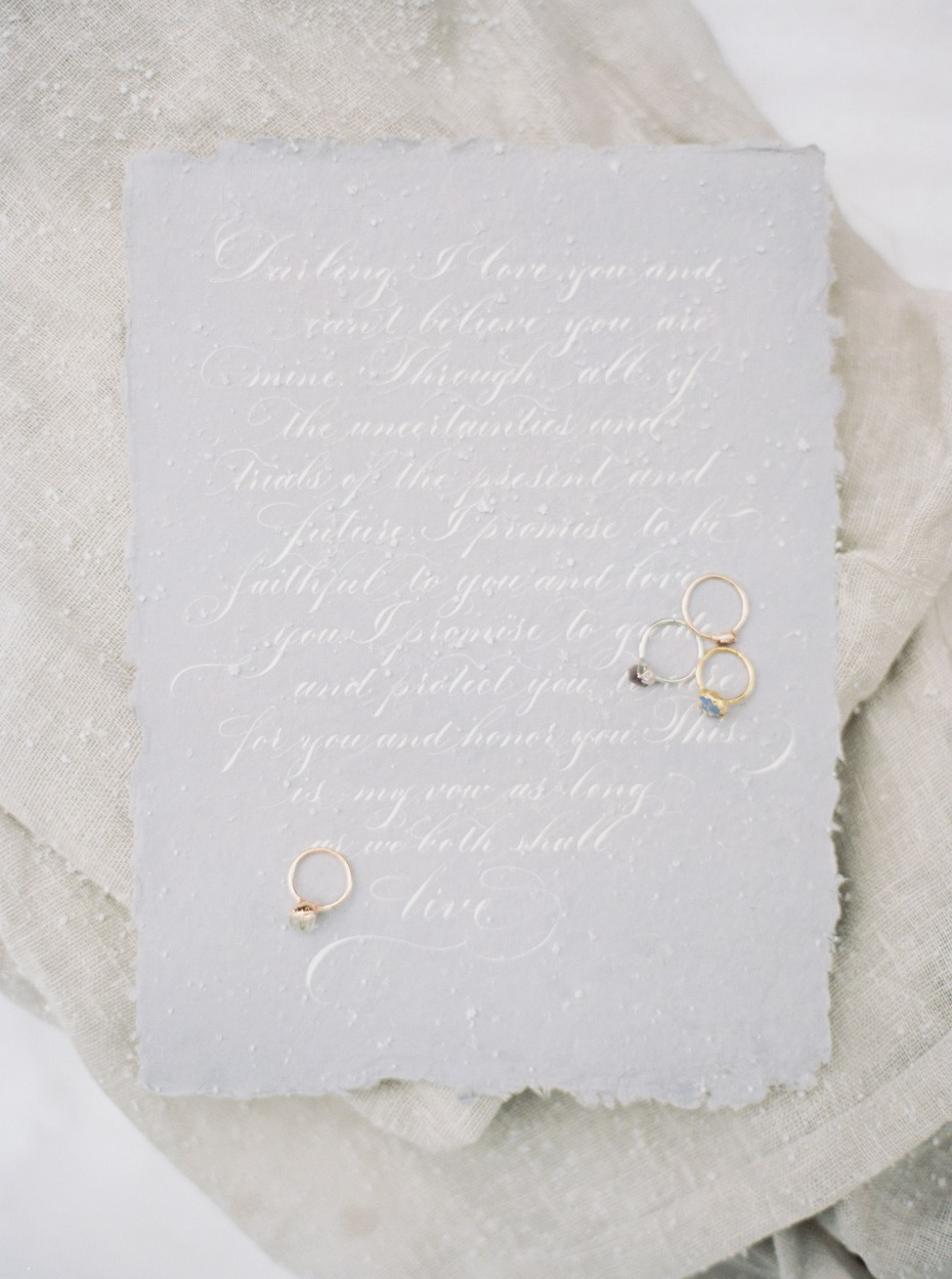 soft grey and white wedding vows