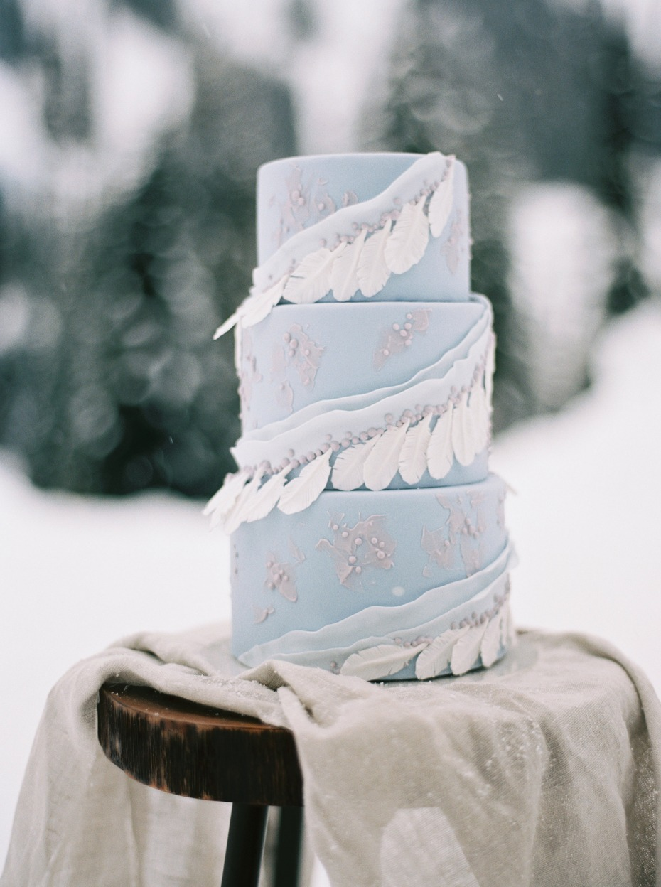 light blue winter wedding cake with fondant feathers