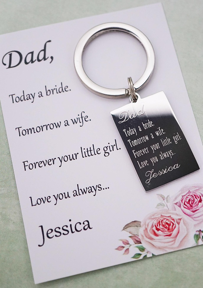 Father of the Bride Gift. Stainless Steel key chain with engraved personalized text.