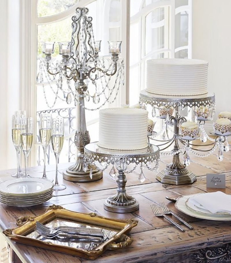 Silver Chandelier Entertaining Decor with Opulent Treasures cake stands, dessert stands & candelabras! Discover our unique collection