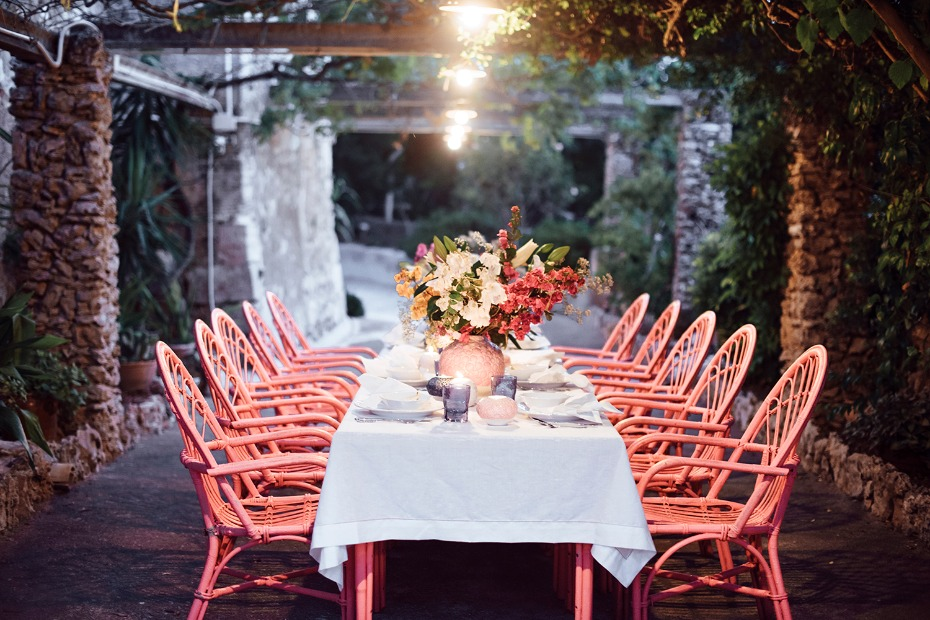 fun boho style family seating evening reception