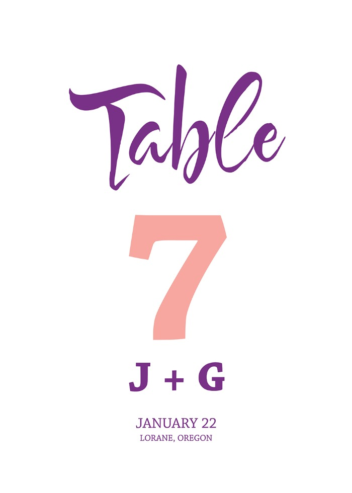 Print: Free Wedding Modern Table Number  Printable