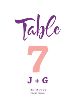 Free Wedding Modern Table Number  Printable
