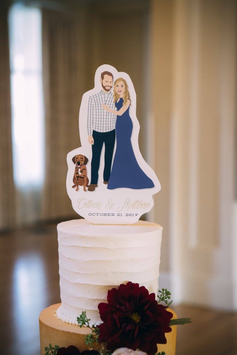 Miss Design Berry's wedding portrait cake topper blows your average wedding cake topper out of the water! This custom work of art features