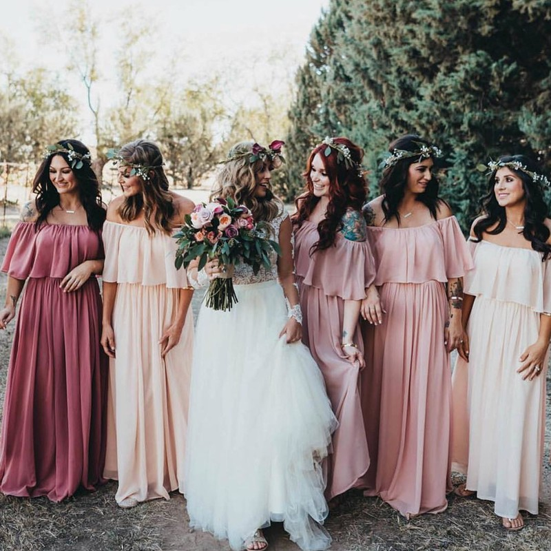 """""""I had a vision of a very boho flower child wedding. I wanted something soft flowy that was flattering on everyone. We wanted everyone"""