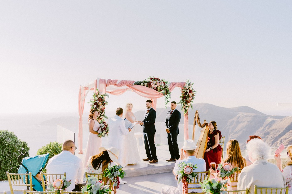 romantic pink and gold wedding ceremony in Greece