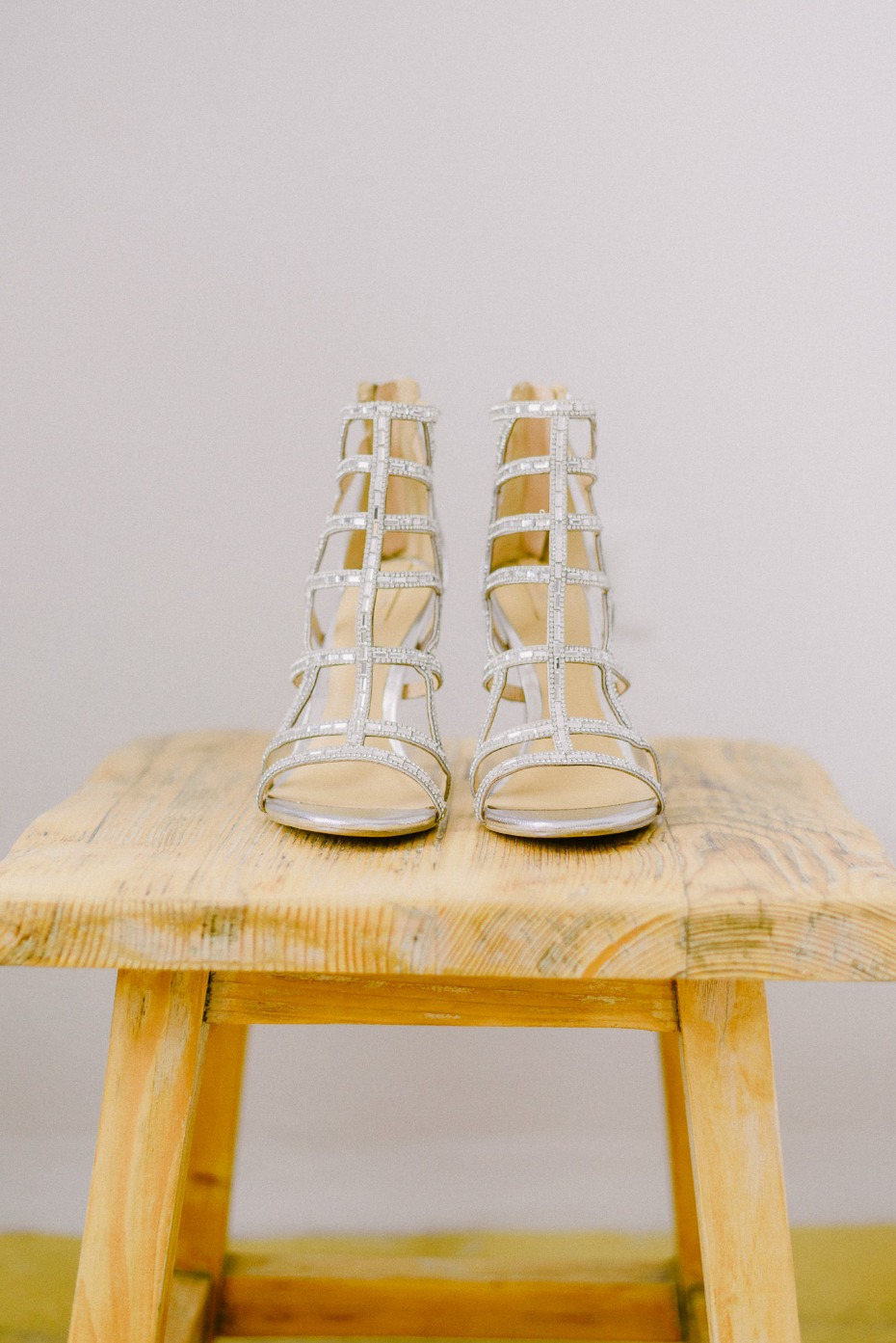 sparkly birdcage style wedding shoes