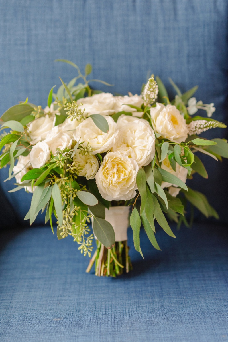 Lush garden rose and eucalyptus bouquet by Rockrose Floral Planning and Design by Magnolia Event Design Photo by Mike Arick #bouquet