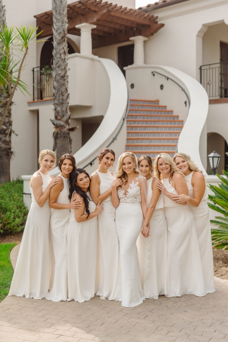 Bridal party in a cream... such a dream.