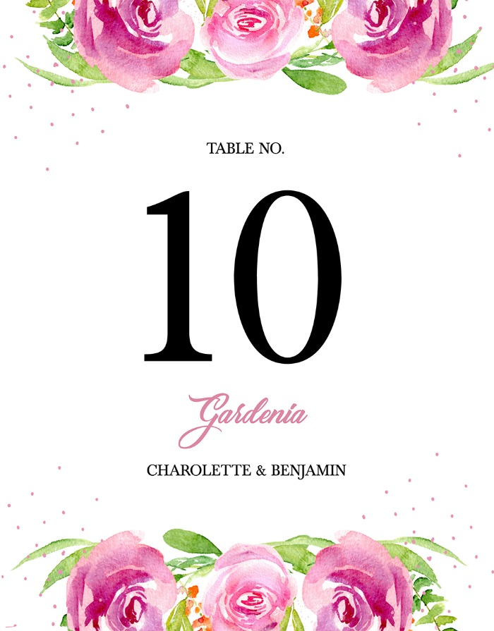 Print: Free Printable Garden Party Table Number