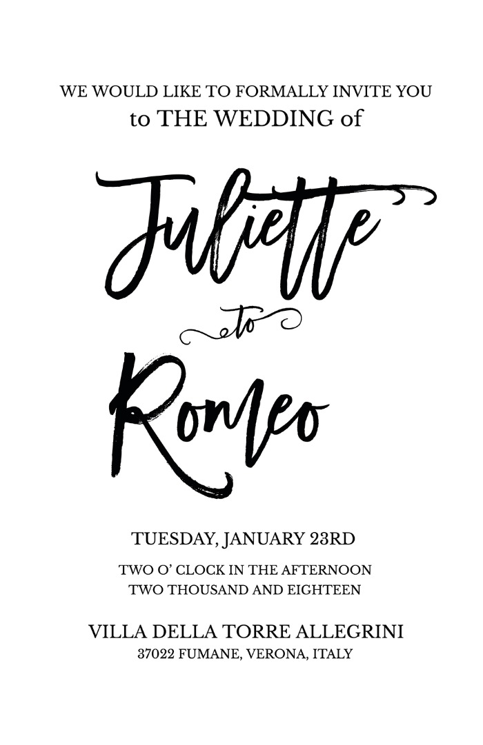 picture about Wedding Cards Printable named Print - Romeo + Juliet Cost-free Printable Marriage Invitation Suite