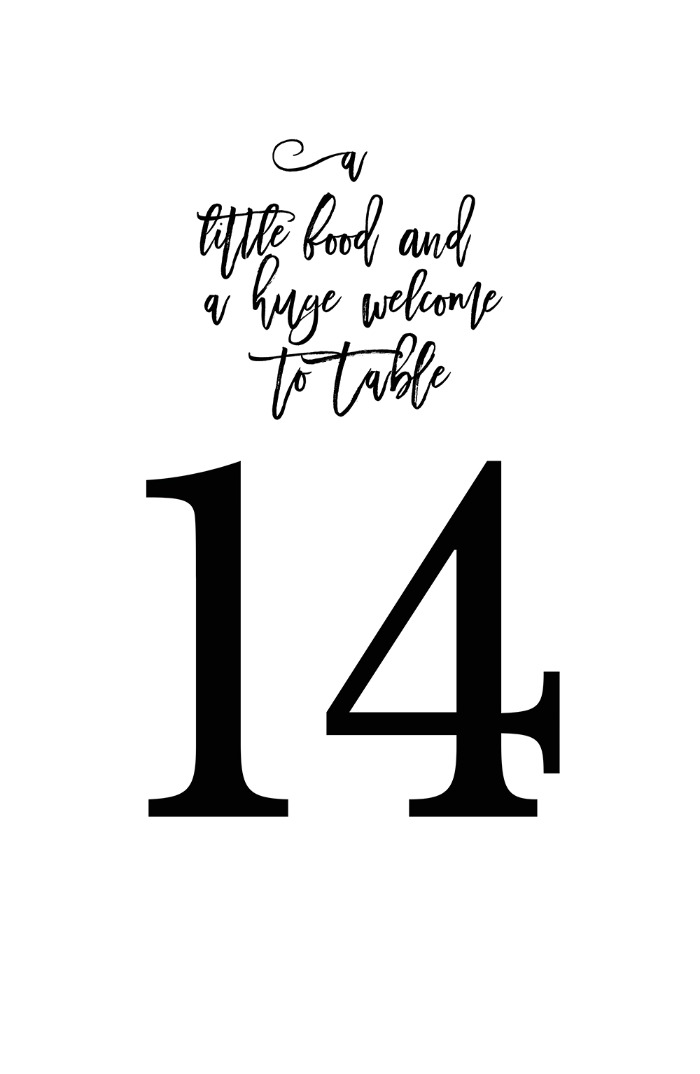 Print: Free Romeo + Juliet Table Numbers