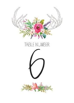 Free Boho Chic Table Numbers