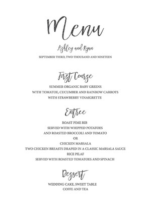 Timeless and Simple Free Printable Wedding Menu
