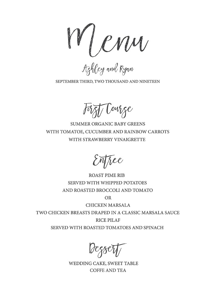 Exhilarating image pertaining to free printable wedding menu template
