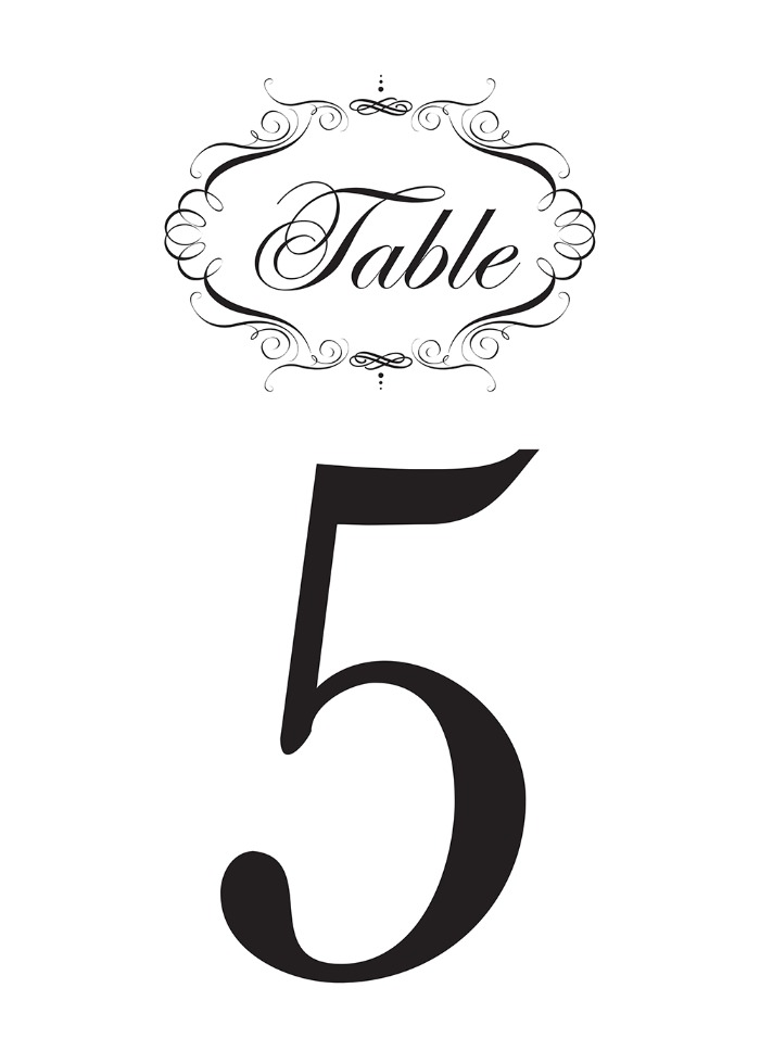 Print: Free Fancy Printable Table Numbers