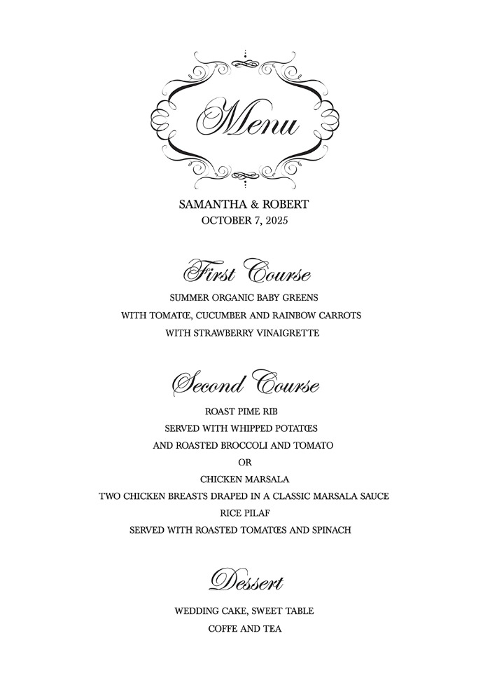 Print  Free Elegant Printable Wedding Menu