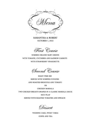 Free Elegant Printable Wedding Menu