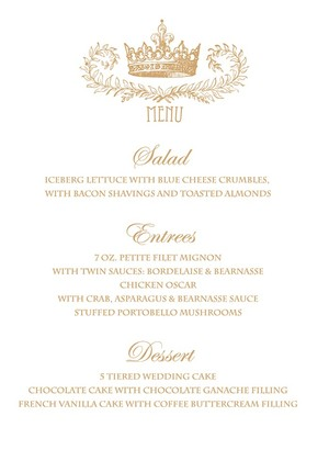 Royal Crown Free Printable Wedding Menu