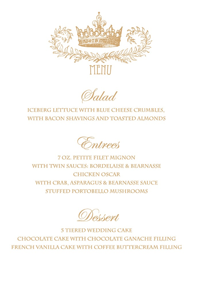 Print  Royal Crown Free Printable Wedding Menu
