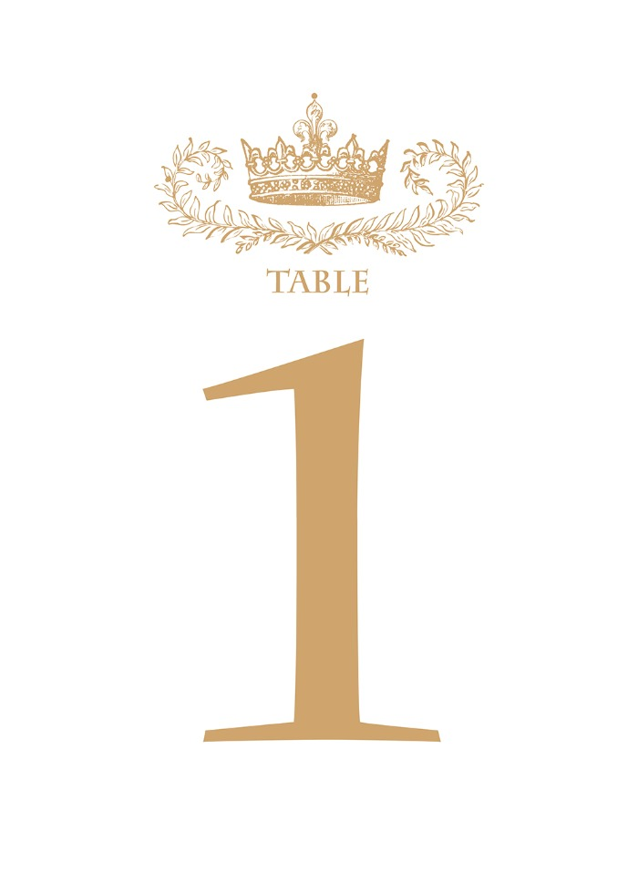 Print: Elegant Royal Crown Free Printable Table Number
