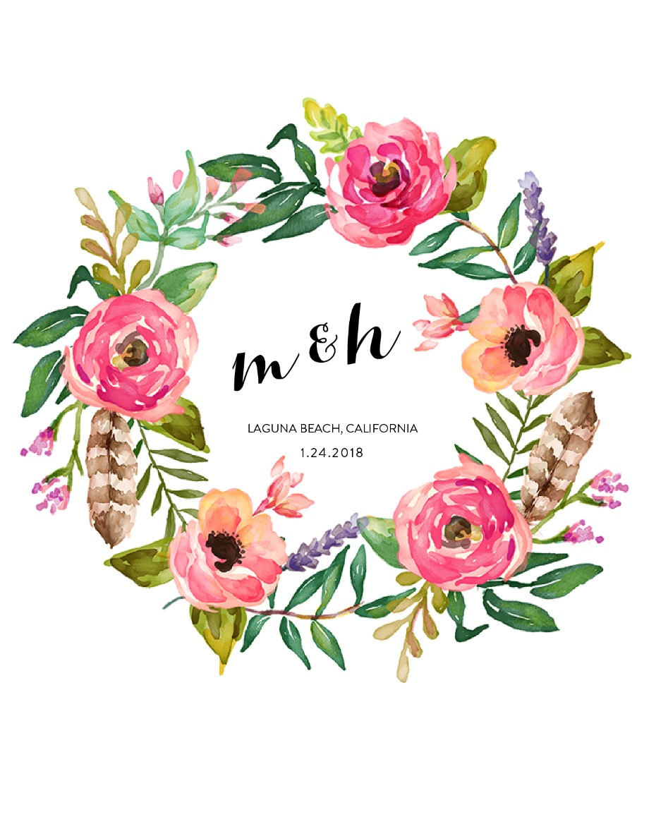 free floral wedding monogram