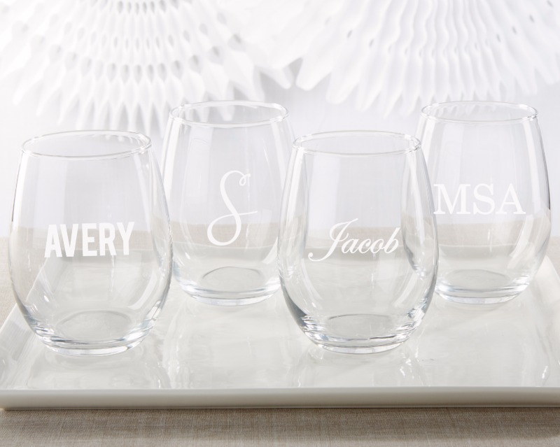 It's time for a special toast with these engraved stemless wine glasses! Perfect for wedding toasts or bridesmaid gifts. Choose to