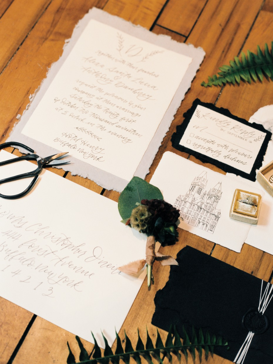 calligraphy and venue illustration wedding stationery
