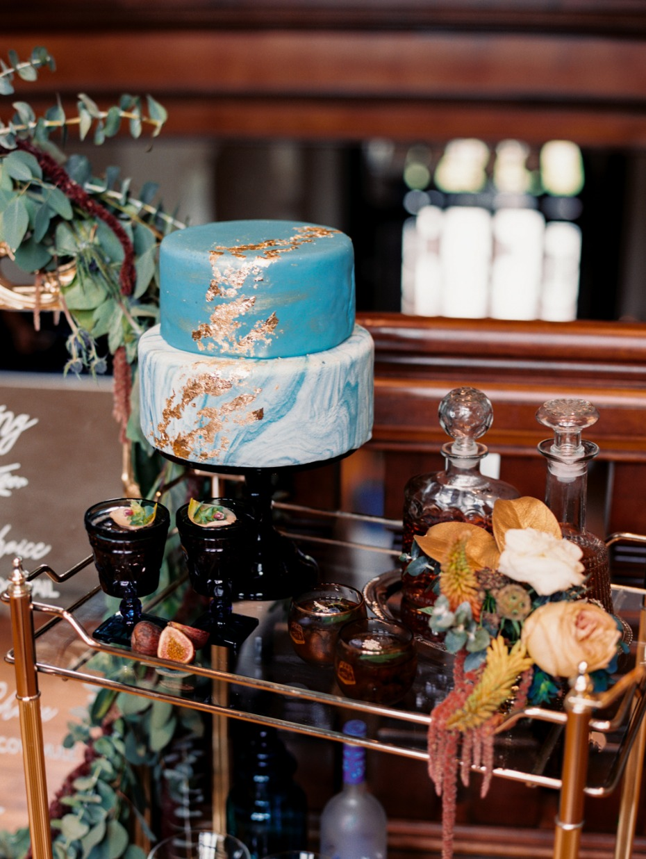 bar cart and cake table combo
