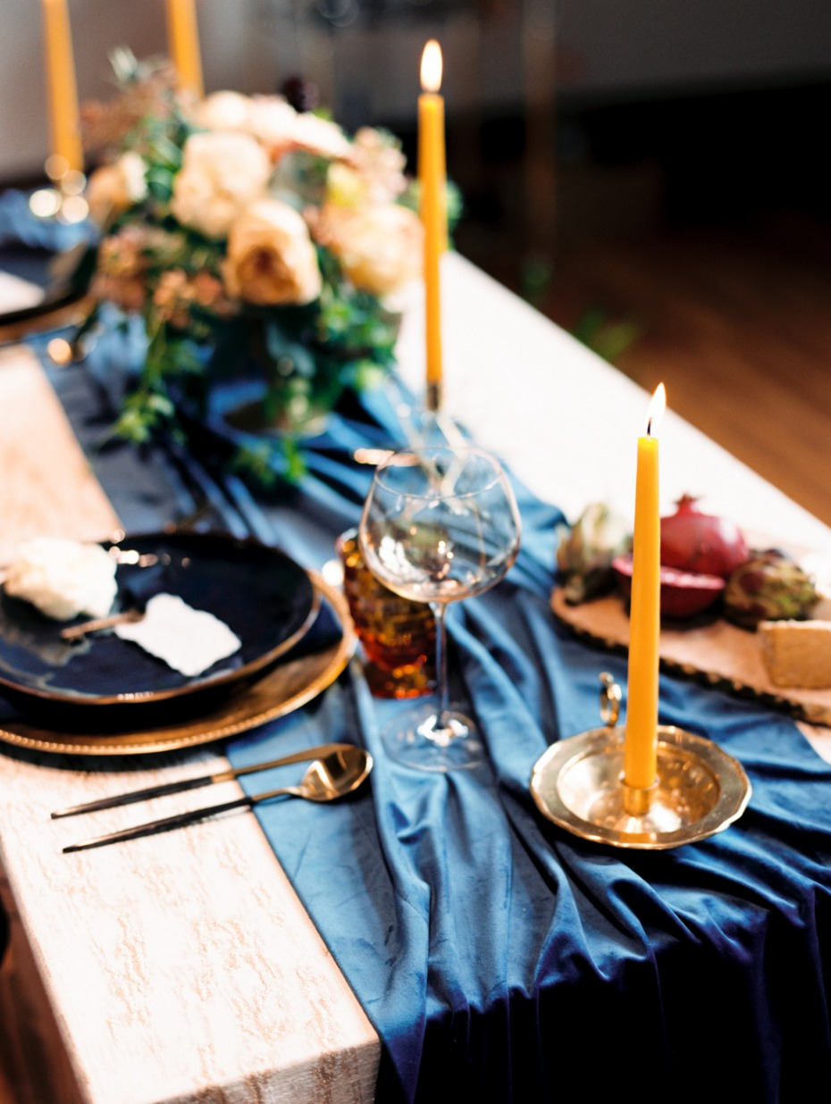 navy and mustard yellow wedding table decor