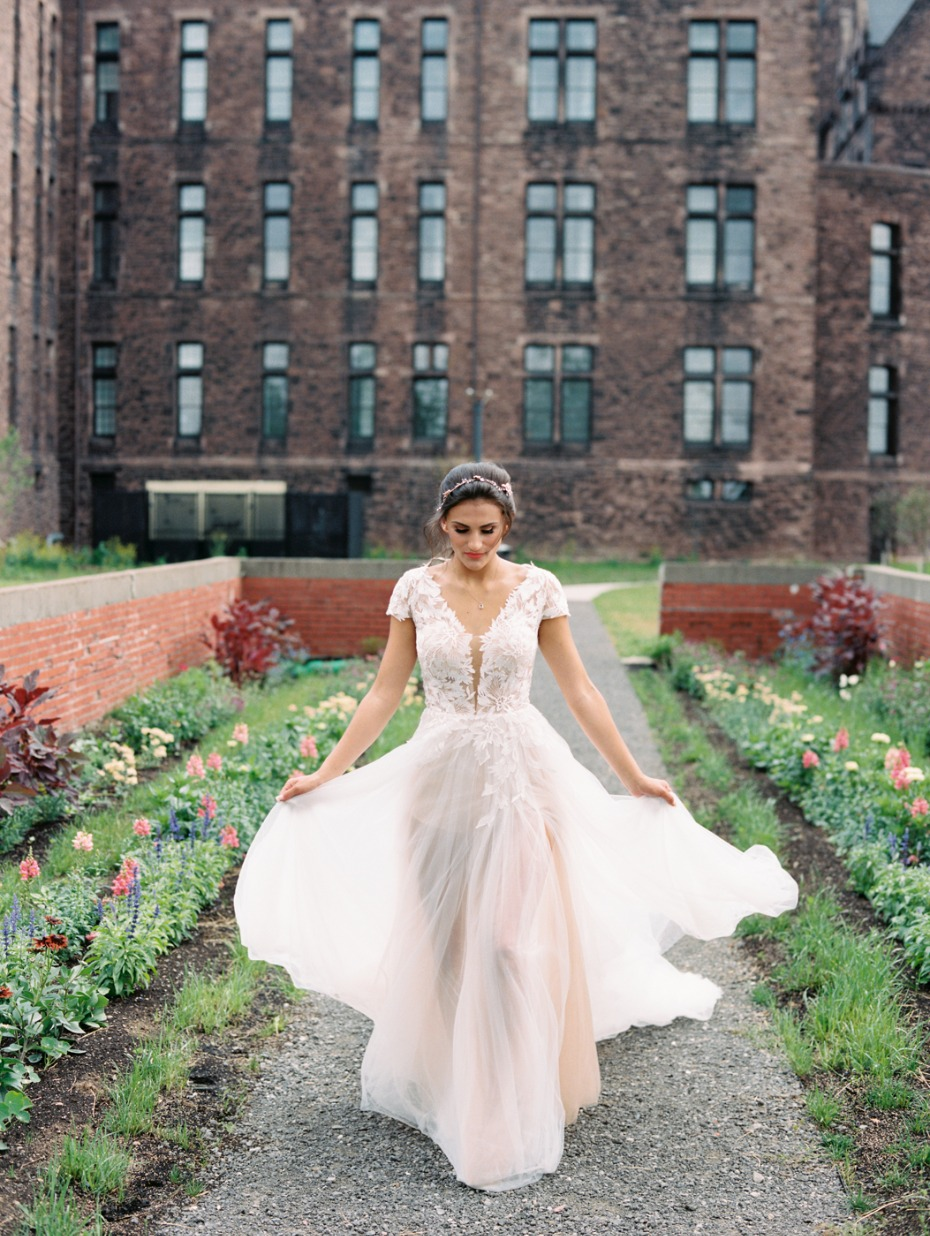 bride in a L'Amour wedding gown